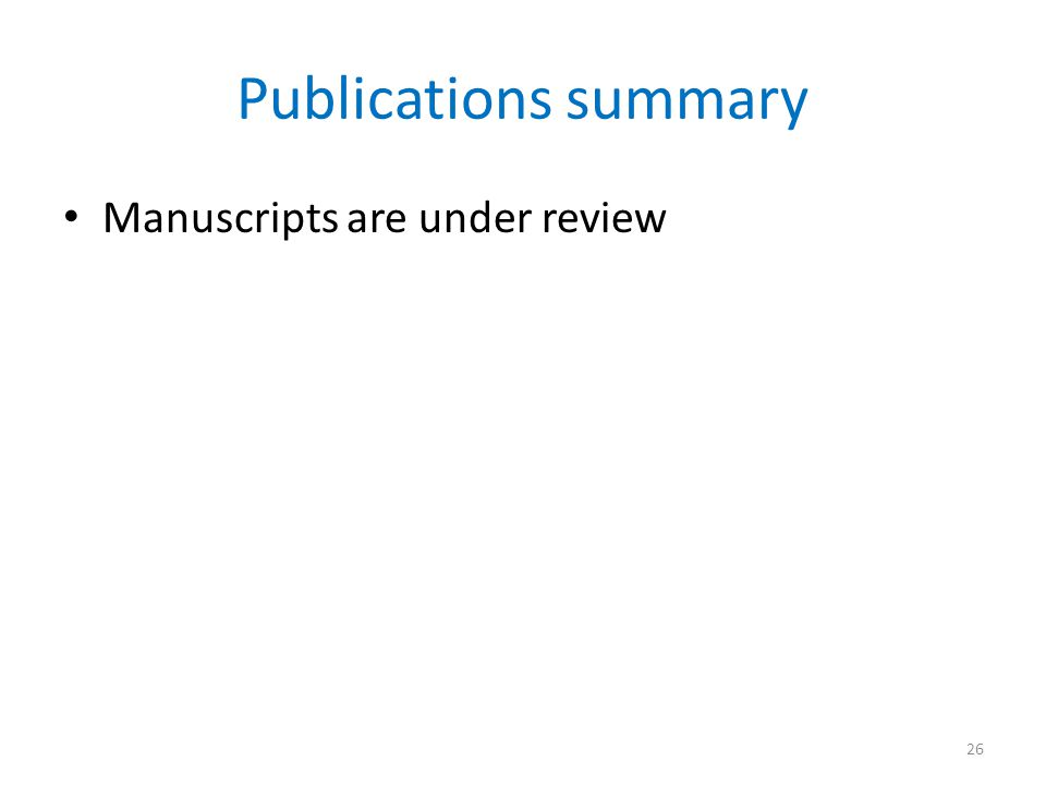 Publications summary Manuscripts are under review 26