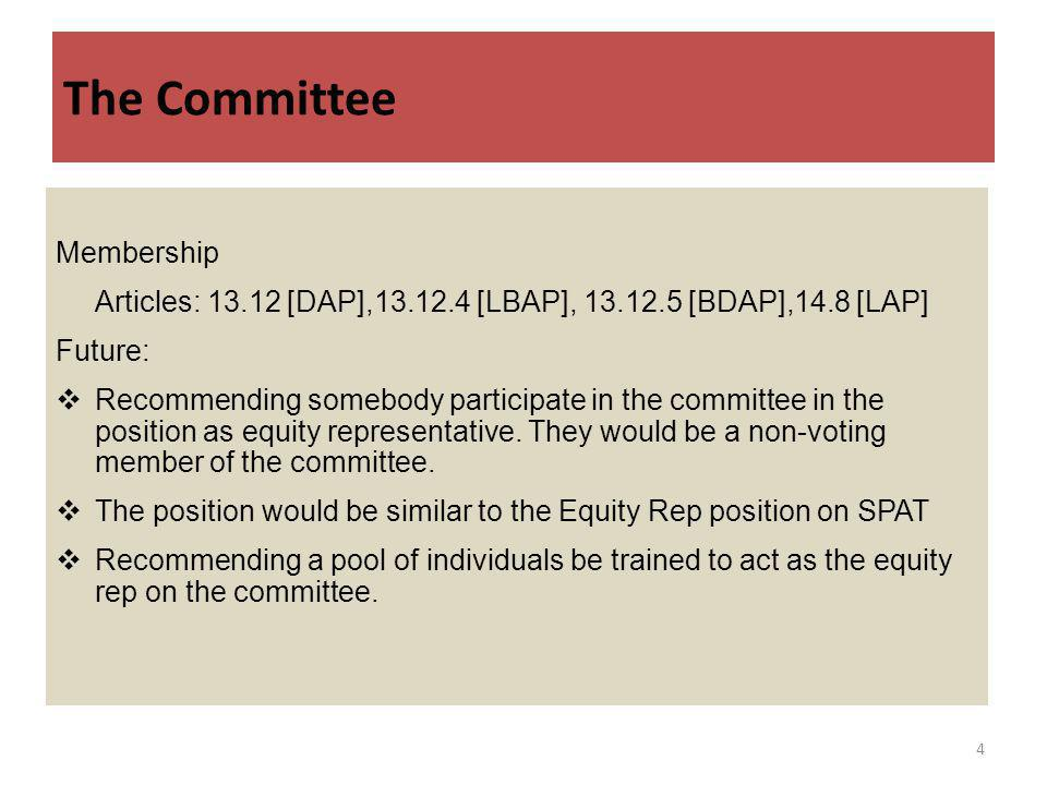 The Committee Membership Articles: 13.12 [DAP],13.12.4 [LBAP], 13.12.5 [BDAP],14.8 [LAP] Future: Recommending somebody participate in the committee in the position as equity representative.
