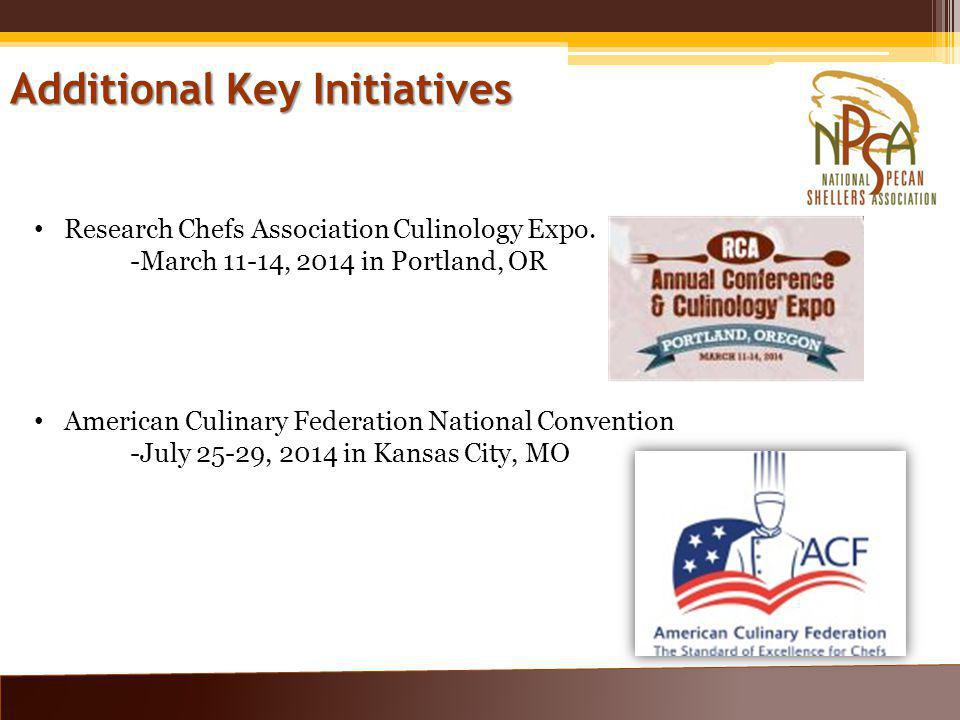 Additional Key Initiatives Research Chefs Association Culinology Expo.