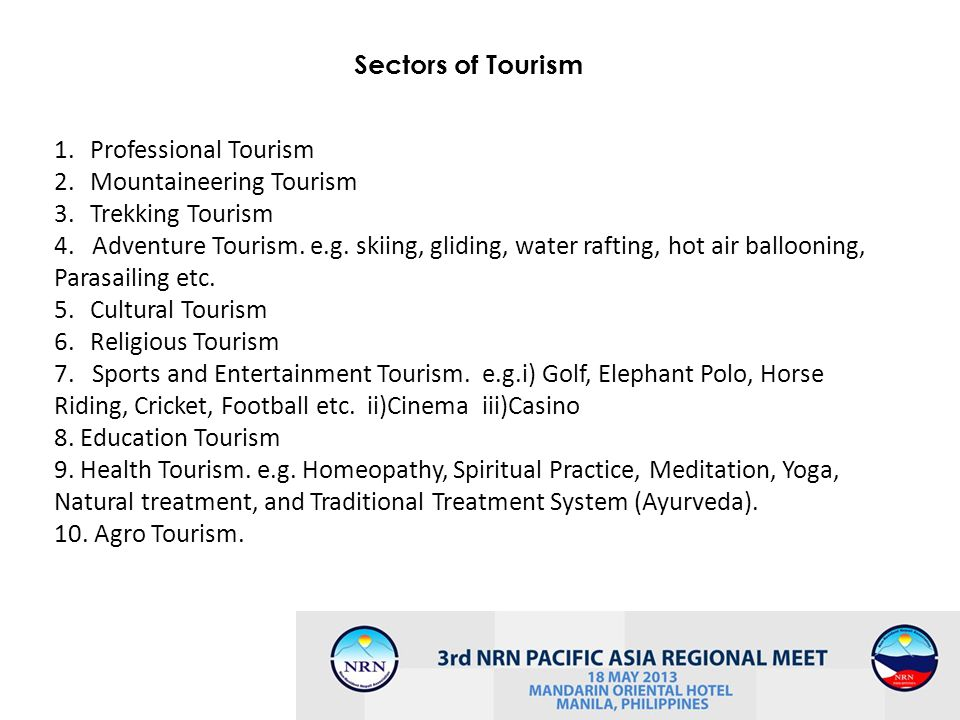 5 Sectors of Tourism 1.Professional Tourism 2.Mountaineering Tourism 3.Trekking Tourism 4. Adventure Tourism. e.g. skiing, gliding, water rafting, hot