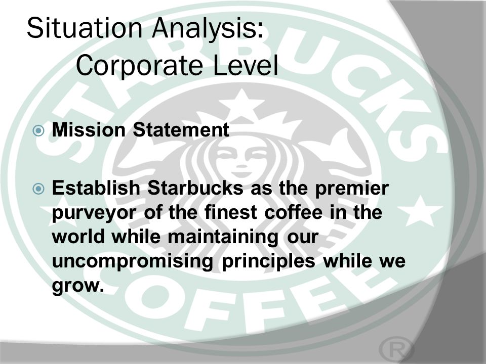 SWOT ANALYSIS Weaknesses: Starbucks too dependent on a main competitive advantage, the retail of coffee.