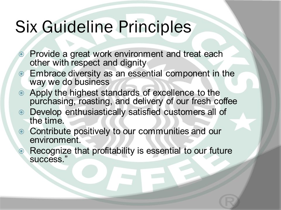 Six Guideline Principles Provide a great work environment and treat each other with respect and dignity Embrace diversity as an essential component in