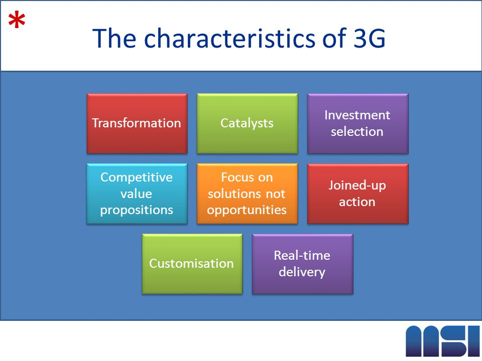 The characteristics of 3G * TransformationCatalysts Investment selection Competitive value propositions Focus on solutions not opportunities Joined-up action Customisation Real-time delivery