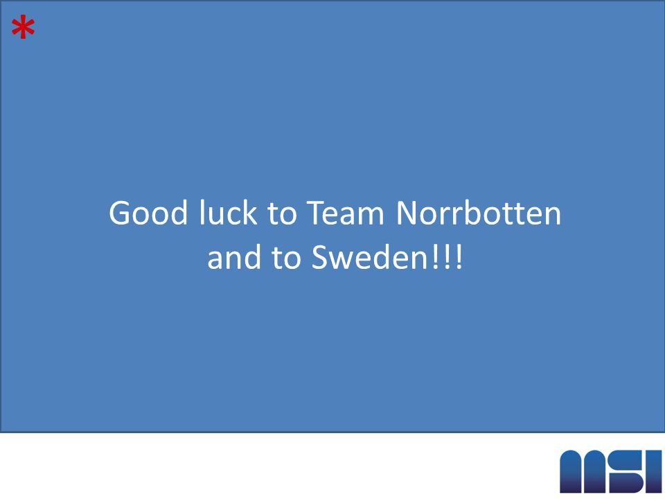 Good luck to Team Norrbotten and to Sweden!!! *