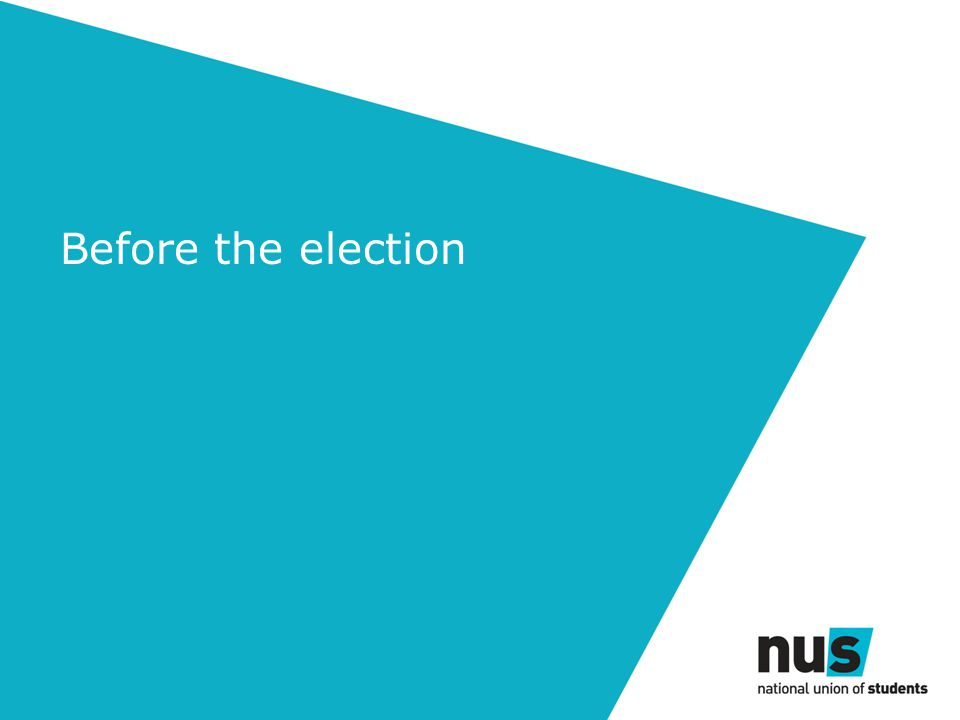 Before the election: procedures Students union election procedures - useful Use the club/society constitution Make it watertight When will club & society elections take place?