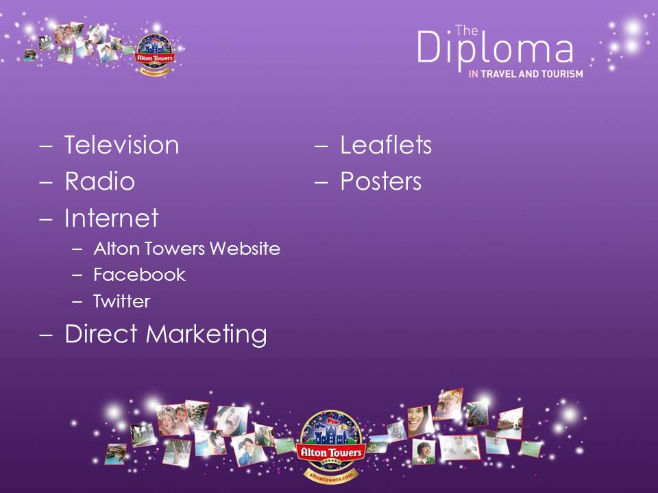 –Television –Radio –Internet –Alton Towers Website –Facebook –Twitter –Direct Marketing –Leaflets –Posters