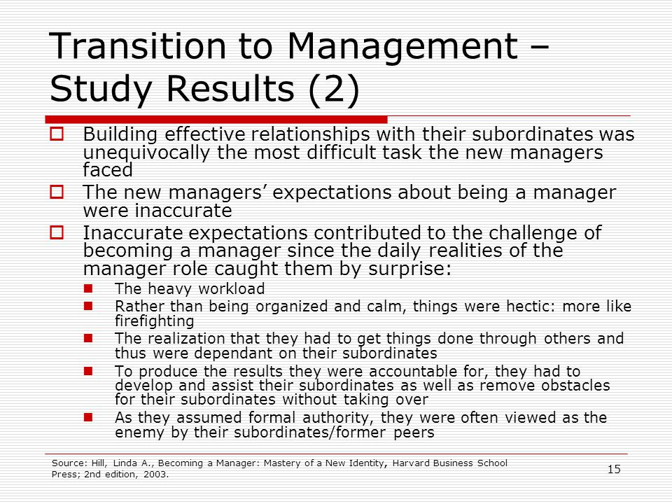 15 Transition to Management – Study Results (2) Building effective relationships with their subordinates was unequivocally the most difficult task the