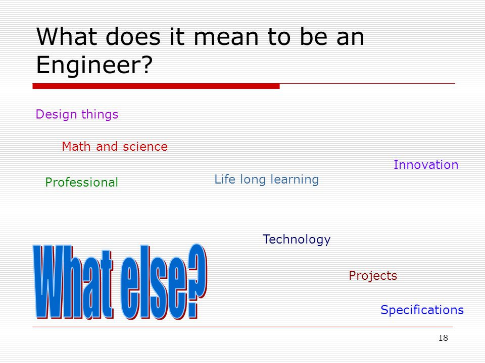18 What does it mean to be an Engineer? Design things Math and science Professional Life long learning Technology Innovation Projects Specifications