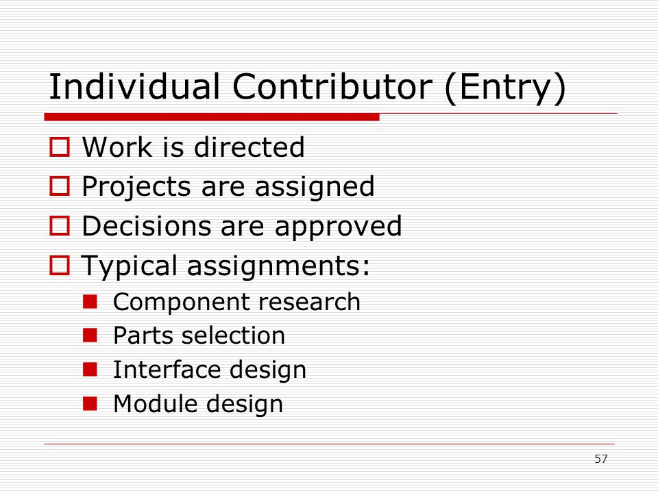 57 Individual Contributor (Entry) Work is directed Projects are assigned Decisions are approved Typical assignments: Component research Parts selectio