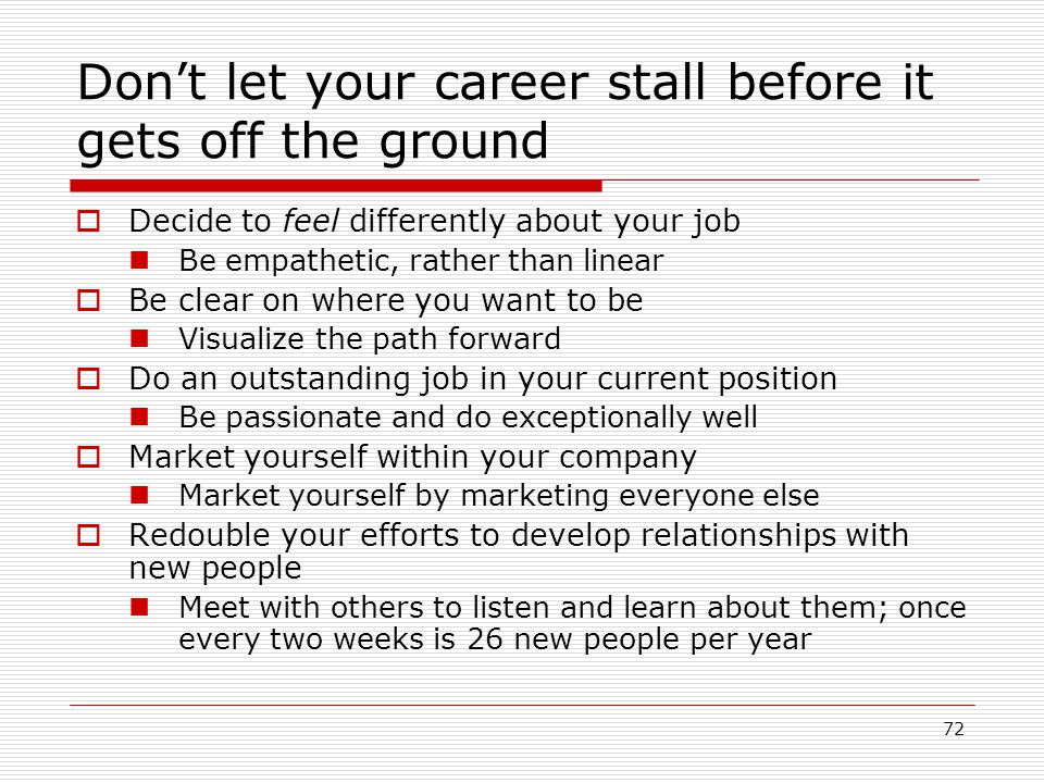 72 Dont let your career stall before it gets off the ground Decide to feel differently about your job Be empathetic, rather than linear Be clear on wh