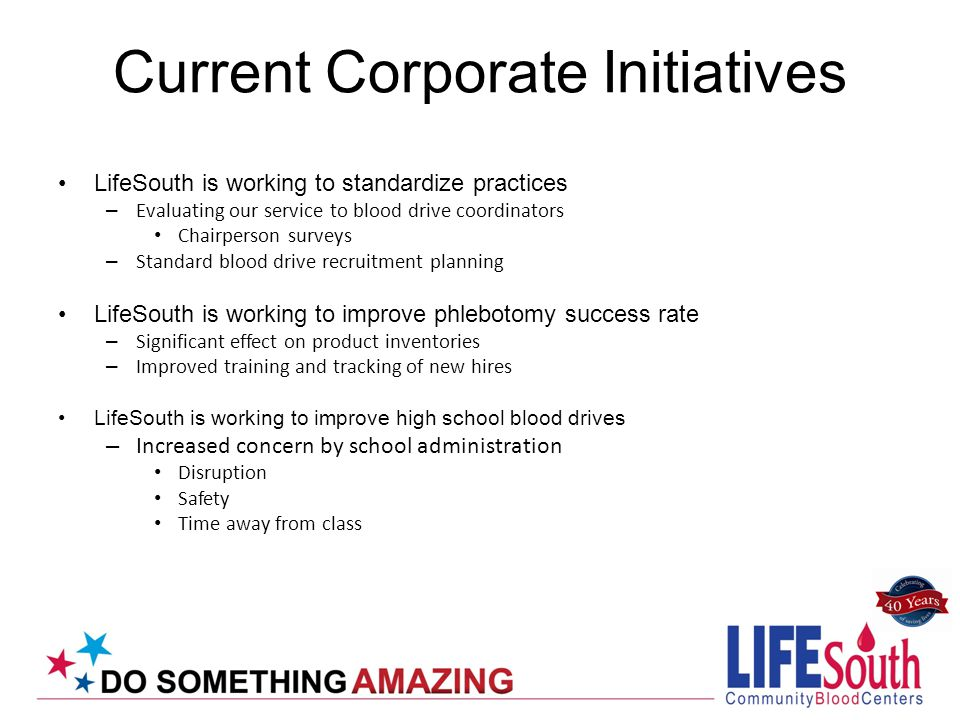 Current Corporate Initiatives LifeSouth is working to standardize practices – Evaluating our service to blood drive coordinators Chairperson surveys –