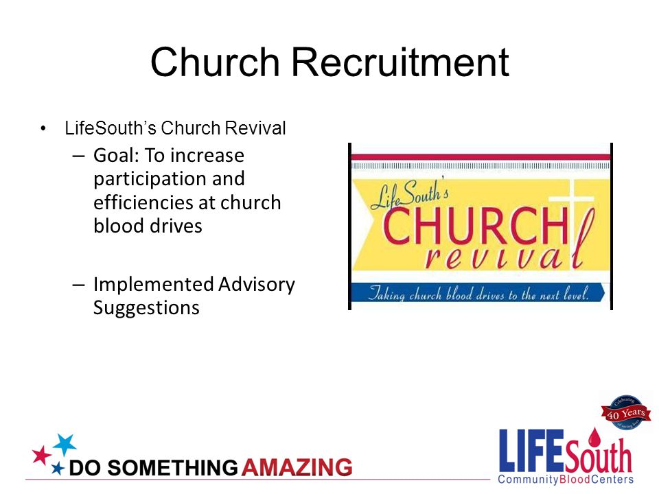 Church Recruitment LifeSouths Church Revival – Goal: To increase participation and efficiencies at church blood drives – Implemented Advisory Suggesti