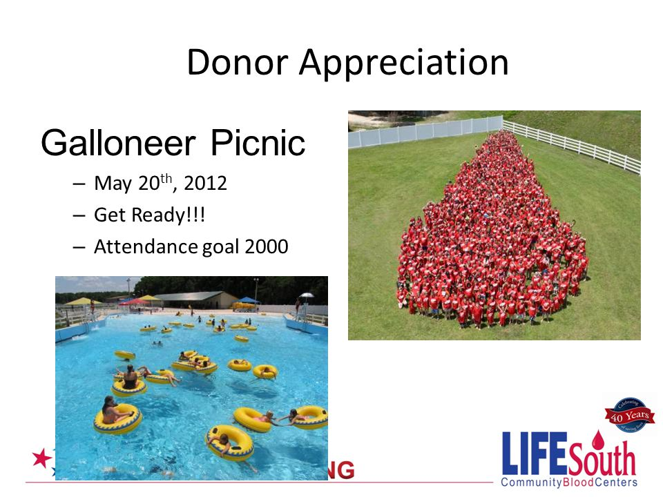 Galloneer Picnic – May 20 th, 2012 – Get Ready!!! – Attendance goal 2000 Donor Appreciation
