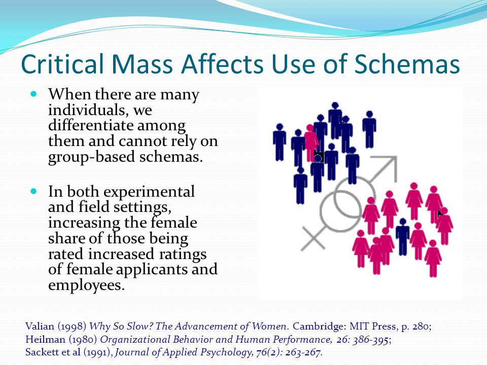 Critical Mass Affects Use of Schemas When there are many individuals, we differentiate among them and cannot rely on group-based schemas.