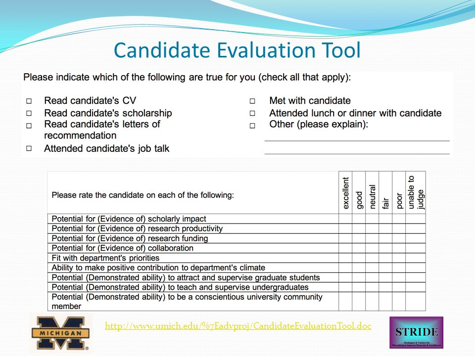 Candidate Evaluation Tool http://www.umich.edu/%7Eadvproj/CandidateEvaluationTool.doc