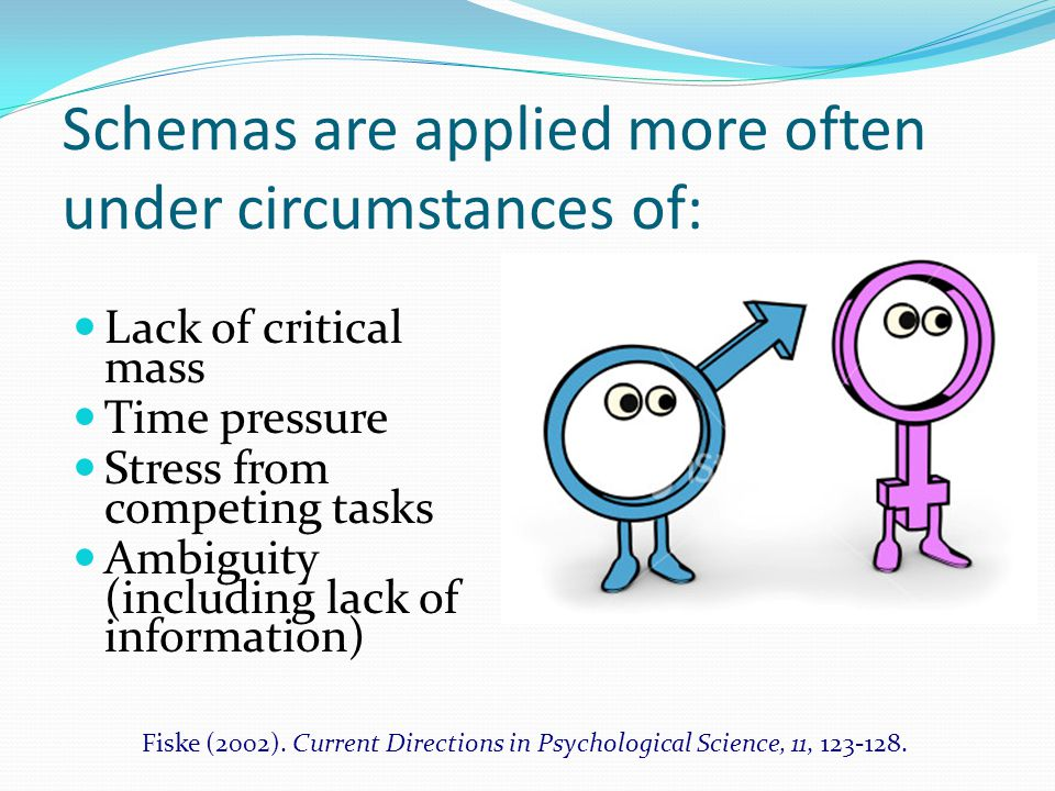Schemas are applied more often under circumstances of: Lack of critical mass Time pressure Stress from competing tasks Ambiguity (including lack of information) Fiske (2002).