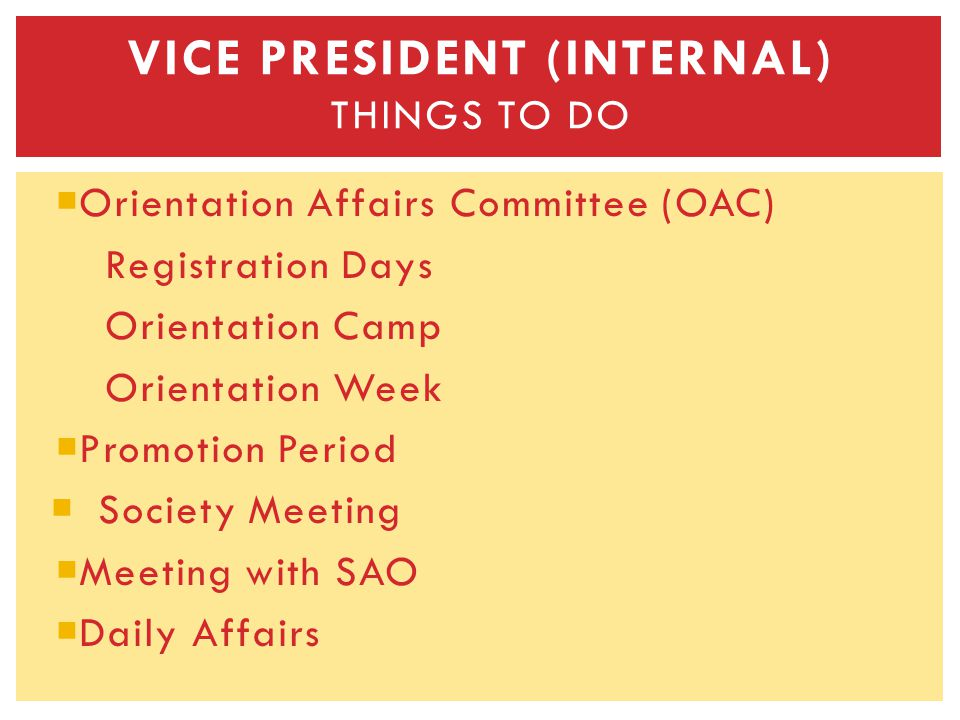 Orientation Affairs Committee (OAC) Registration Days Orientation Camp Orientation Week Promotion Period Society Meeting Meeting with SAO Daily Affairs VICE PRESIDENT (INTERNAL) THINGS TO DO