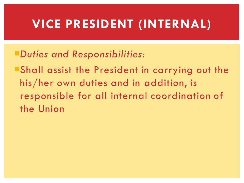 Duties and Responsibilities: Shall assist the President in carrying out the his/her own duties and in addition, is responsible for all internal coordination of the Union VICE PRESIDENT (INTERNAL)