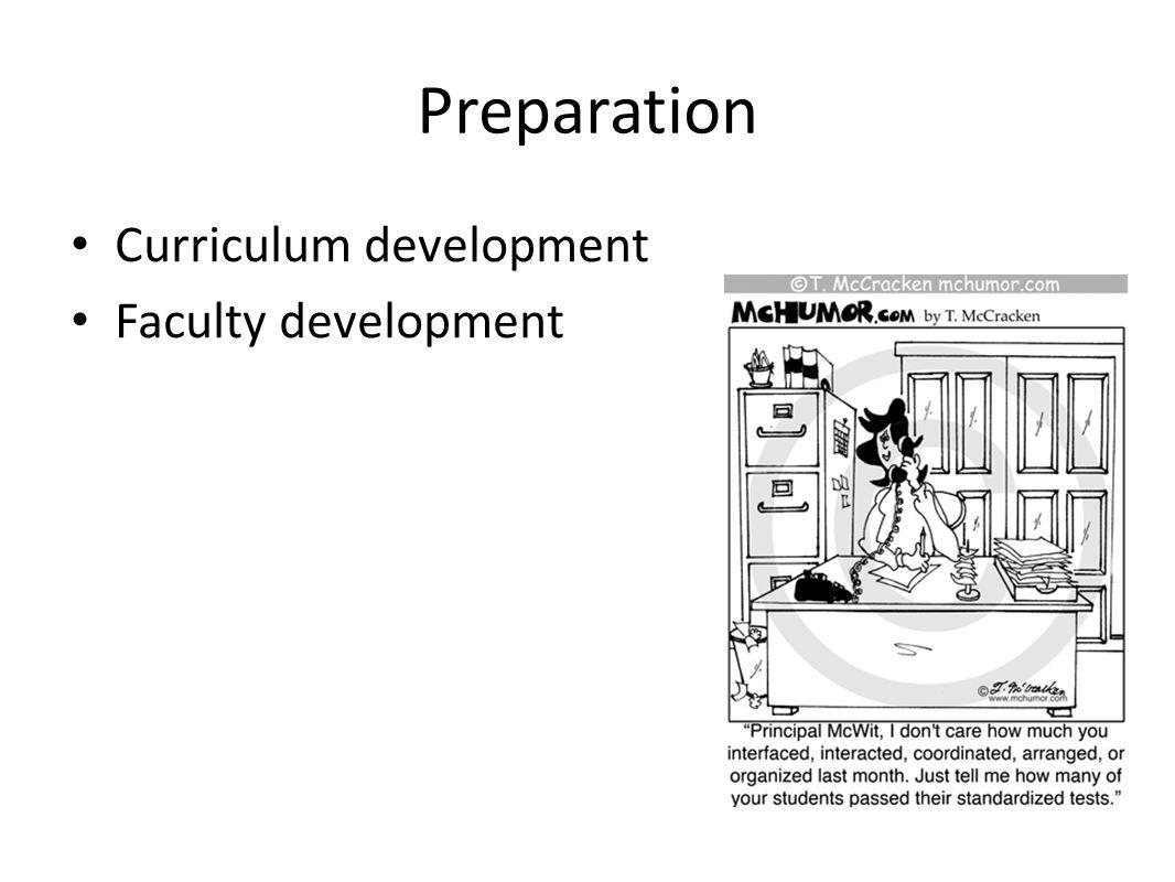 Preparation Curriculum development Faculty development