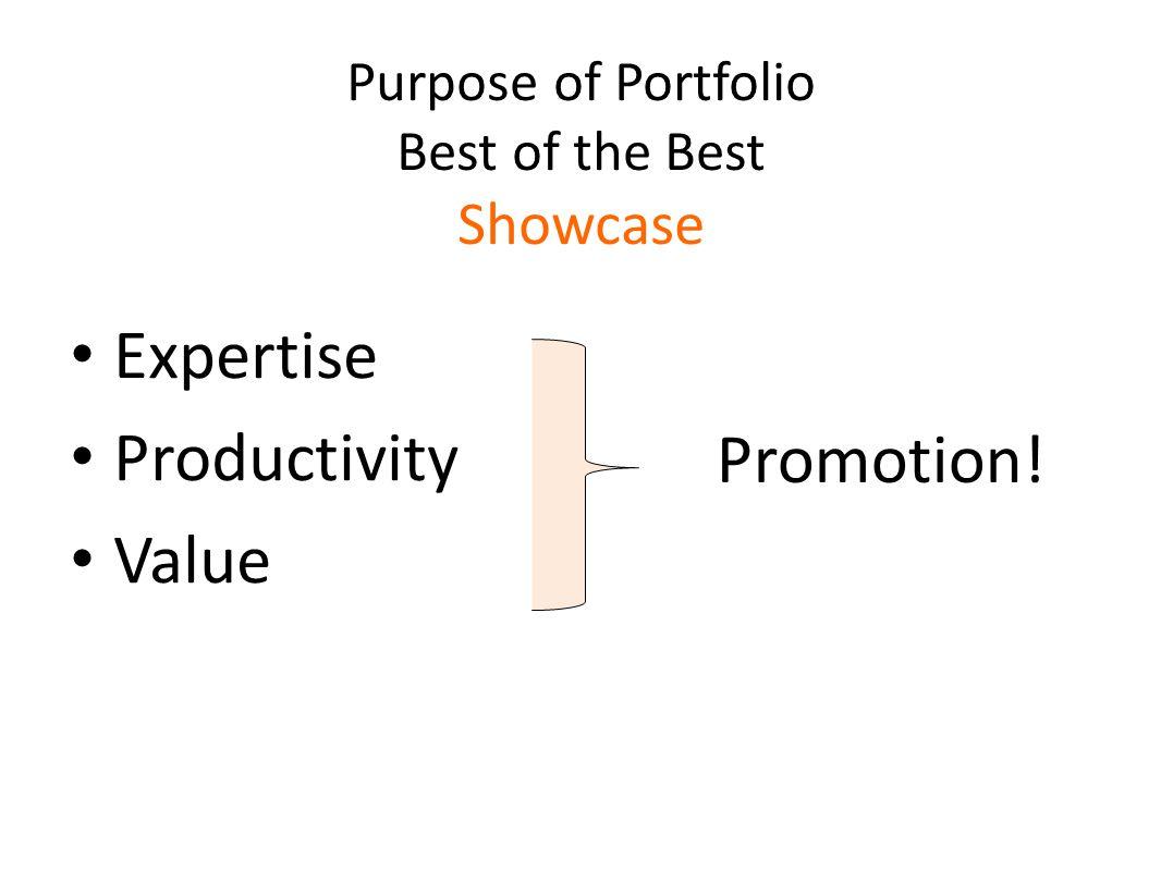 Purpose of Portfolio Best of the Best Showcase Expertise Productivity Value 35 Promotion!