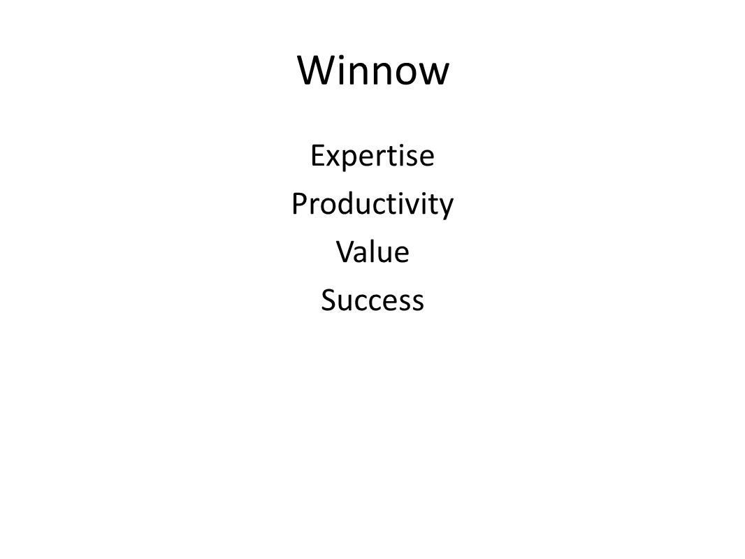 Winnow Expertise Productivity Value Success