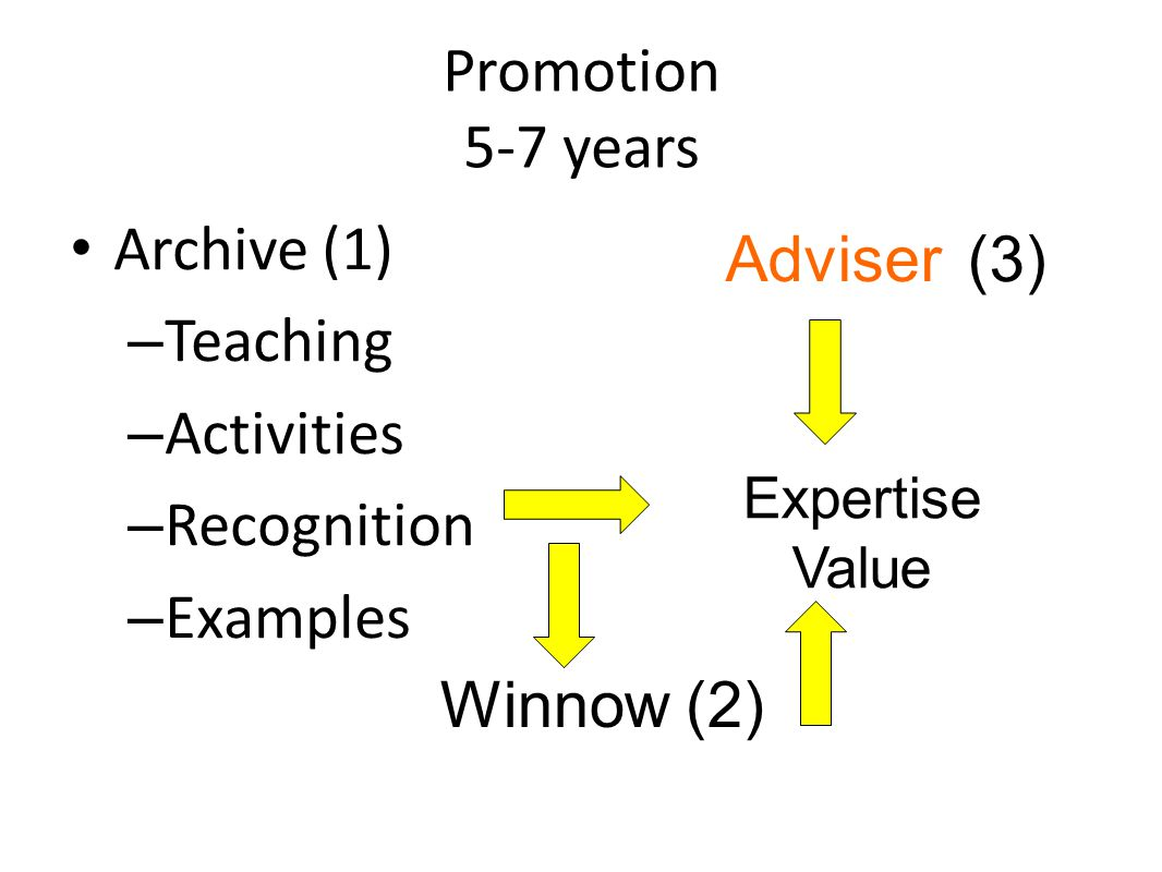 Promotion 5-7 years Archive (1) – Teaching – Activities – Recognition – Examples 42 Expertise Value Adviser (3) Winnow (2)