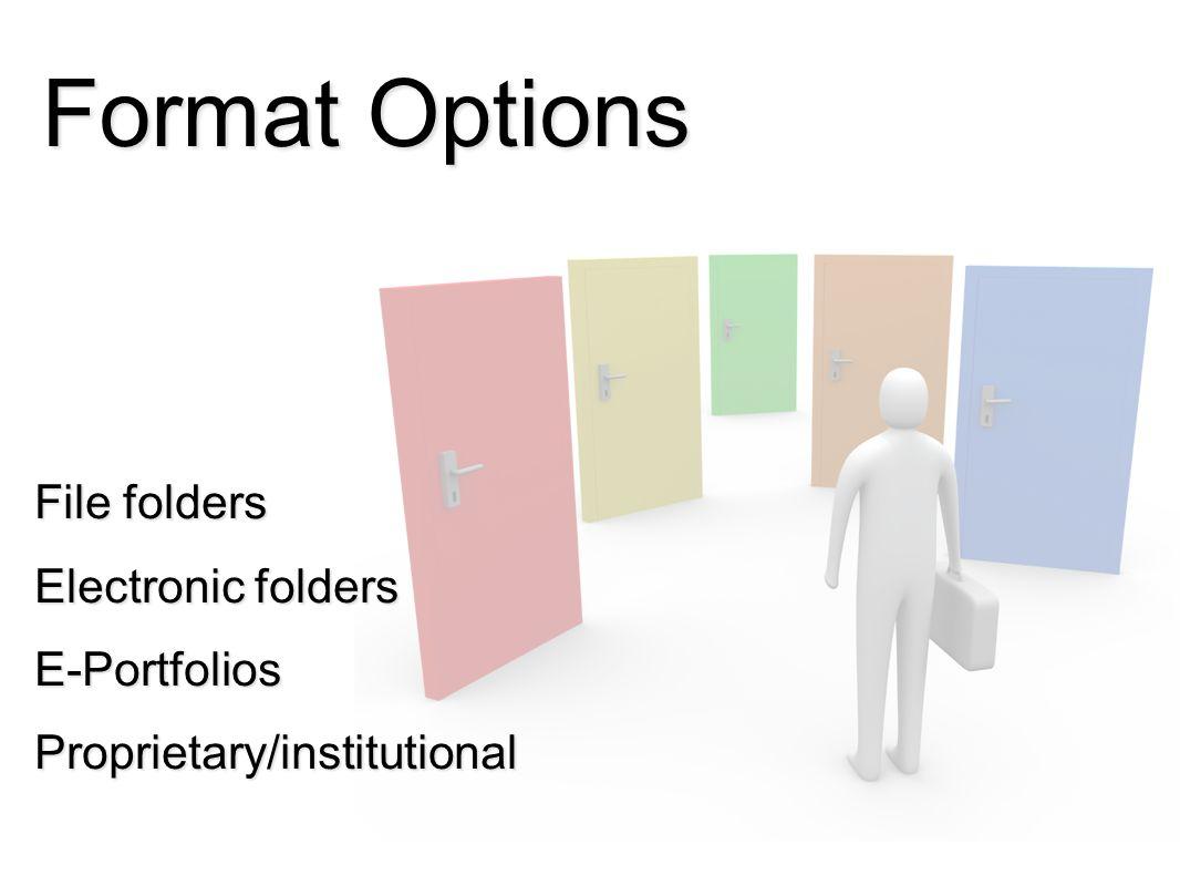 Format Options File folders Electronic folders E-PortfoliosProprietary/institutional