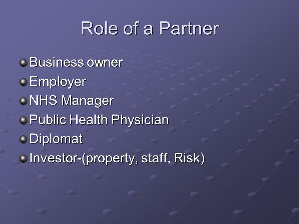 Role of a Partner Business owner Employer NHS Manager Public Health Physician Diplomat Investor-(property, staff, Risk)
