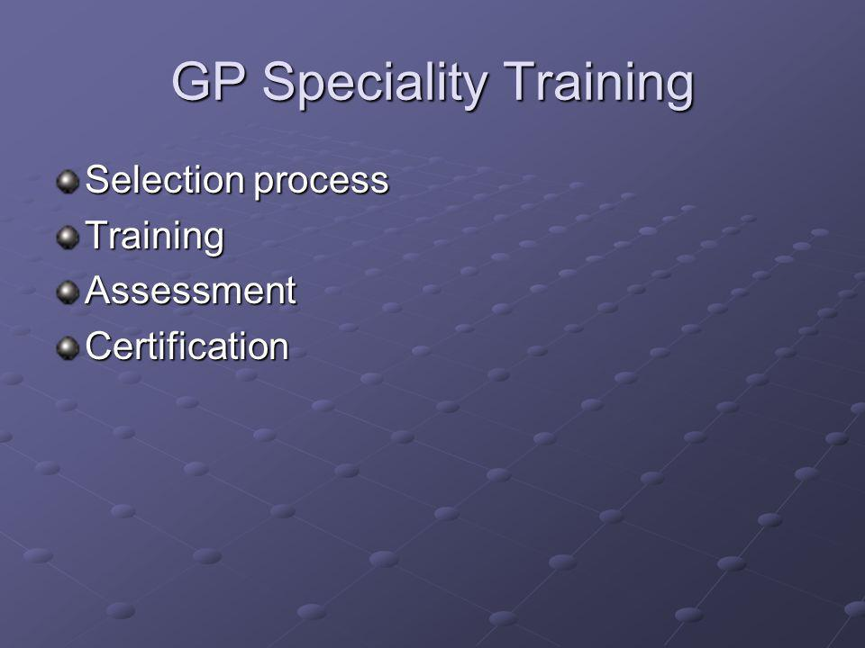 GP Speciality Training Selection process TrainingAssessmentCertification