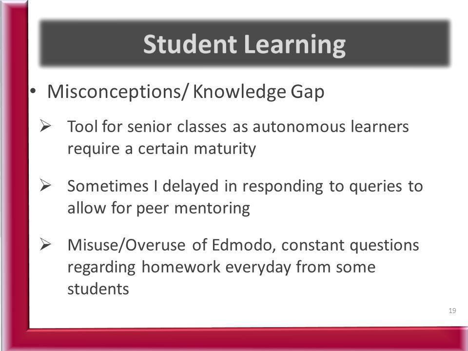 Misconceptions/ Knowledge Gap Tool for senior classes as autonomous learners require a certain maturity Sometimes I delayed in responding to queries t