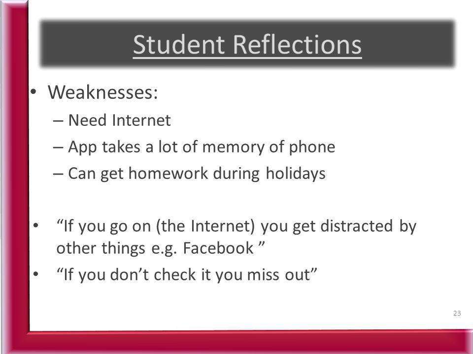 Weaknesses: – Need Internet – App takes a lot of memory of phone – Can get homework during holidays If you go on (the Internet) you get distracted by other things e.g.