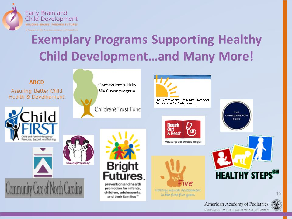 Exemplary Programs Supporting Healthy Child Development…and Many More! Connecticuts Help Me Grow program ABCD Assuring Better Child Health & Developme