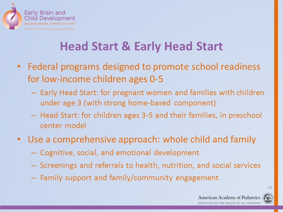 Head Start & Early Head Start Federal programs designed to promote school readiness for low-income children ages 0-5 – Early Head Start: for pregnant