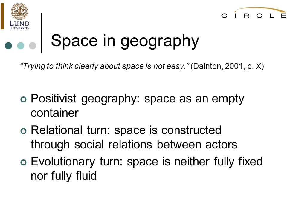 Space in geography Trying to think clearly about space is not easy.