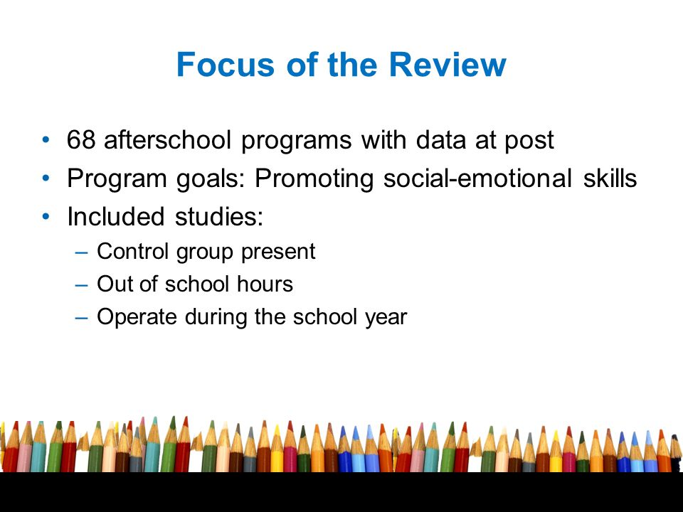 Free powerpoint template: www.brainybetty.com 7 Focus of the Review 68 afterschool programs with data at post Program goals: Promoting social-emotional skills Included studies: –Control group present –Out of school hours –Operate during the school year