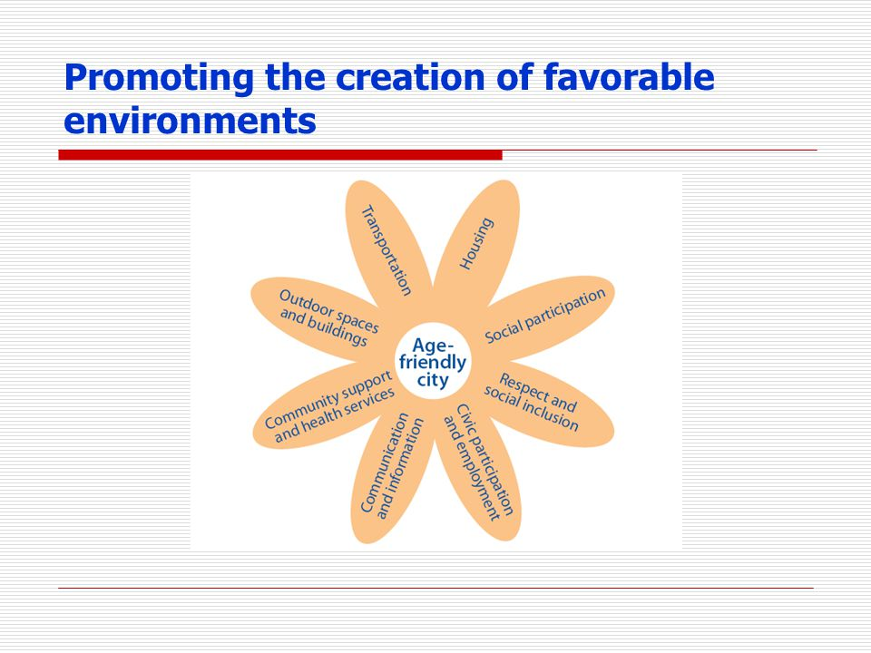 Promoting the creation of favorable environments