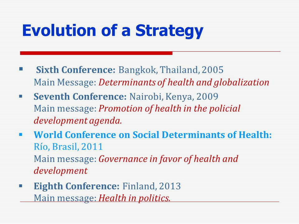 Evolution of a Strategy Sixth Conference: Bangkok, Thailand, 2005 Main Message: Determinants of health and globalization Seventh Conference: Nairobi,