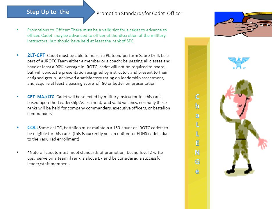 Promotion Standards for Cadet Officer Promotions to Officer: There must be a valid slot for a cadet to advance to officer.