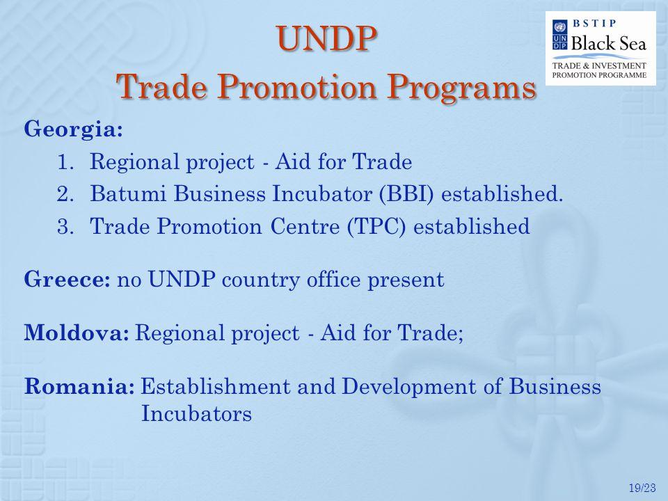 19/23 Georgia: 1.Regional project - Aid for Trade 2.Batumi Business Incubator (BBI) established.