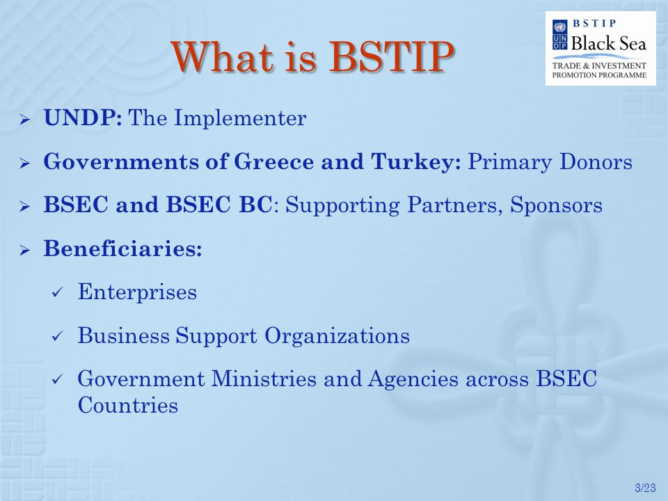 3/23 What is BSTIP UNDP: The Implementer Governments of Greece and Turkey: Primary Donors BSEC and BSEC BC : Supporting Partners, Sponsors Beneficiari