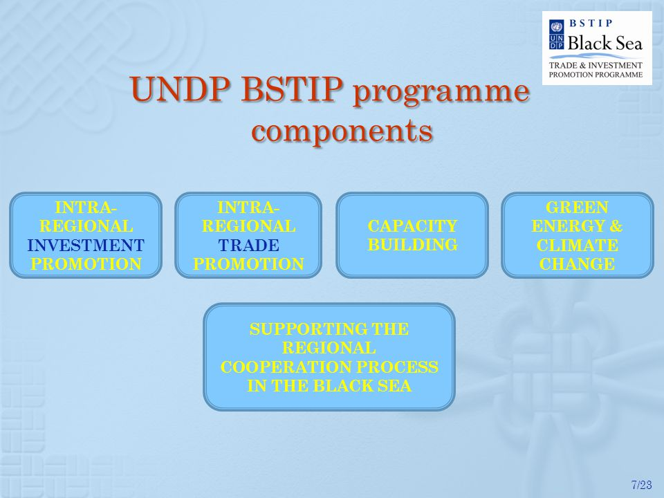 7/23 UNDP BSTIP programme components INTRA- REGIONAL TRADE PROMOTION INTRA- REGIONAL INVESTMENT PROMOTION GREEN ENERGY & CLIMATE CHANGE SUPPORTING THE