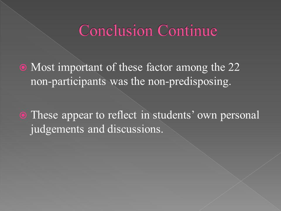 Most important of these factor among the 22 non-participants was the non-predisposing. These appear to reflect in students own personal judgements and