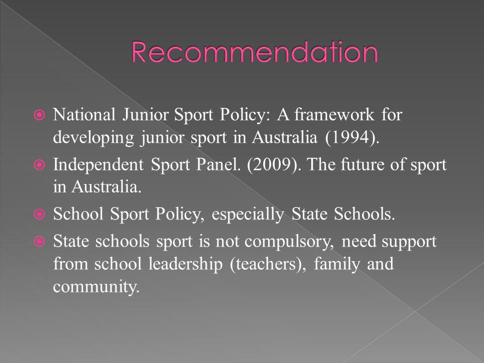 National Junior Sport Policy: A framework for developing junior sport in Australia (1994).