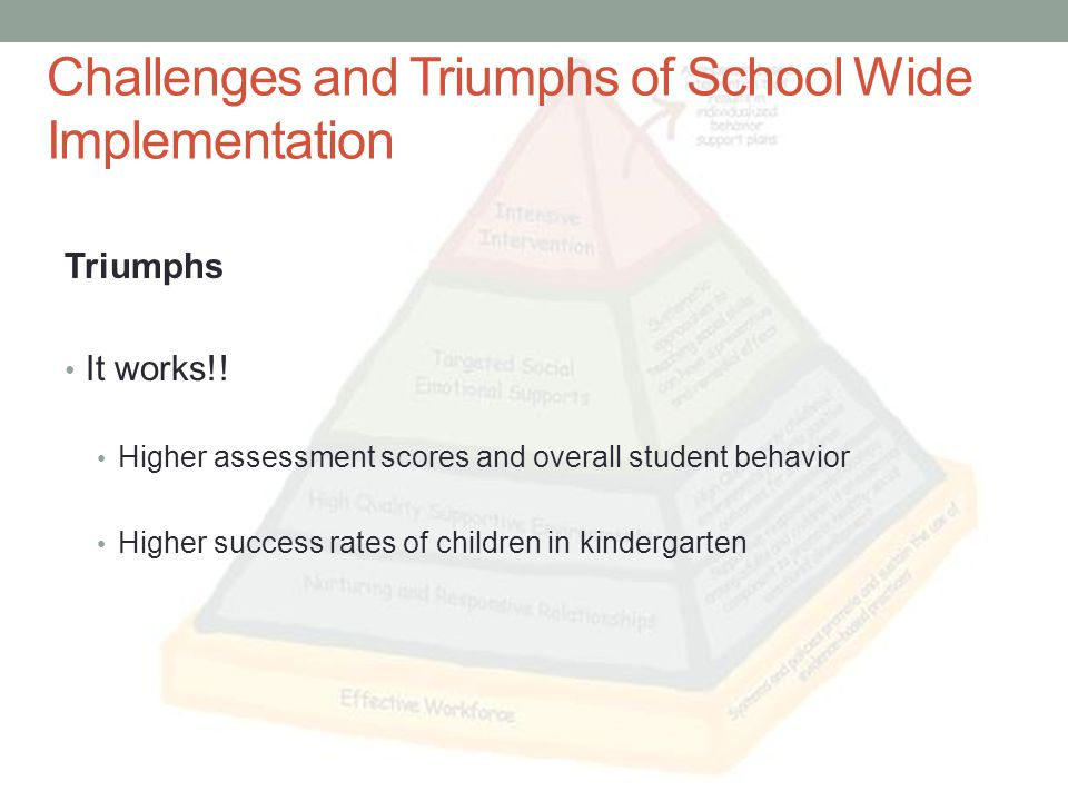 Challenges and Triumphs of School Wide Implementation Triumphs It works!.
