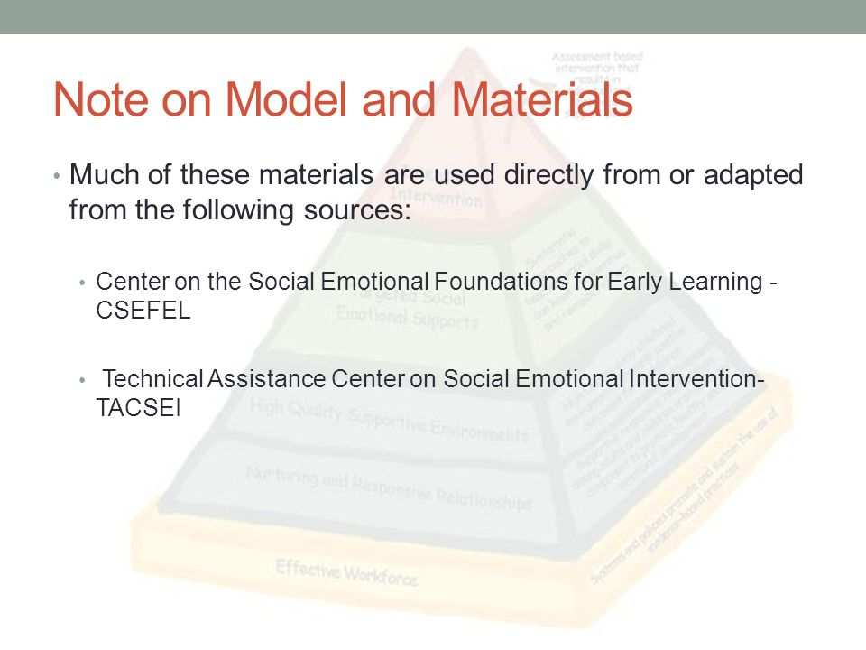 Objectives for Today Describe social emotional skills necessary for young children Describe the levels of the Pyramid Model for Promoting Social Emotional Competence Discuss measures of fidelity for the pyramid model Describe examples of how the pyramid model works in a school-wide approach