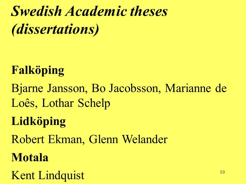 10 Swedish Academic theses (dissertations) Falköping Bjarne Jansson, Bo Jacobsson, Marianne de Loês, Lothar Schelp Lidköping Robert Ekman, Glenn Welander Motala Kent Lindquist