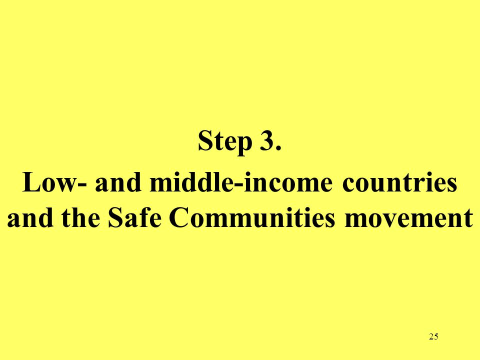 25 Step 3. Low- and middle-income countries and the Safe Communities movement