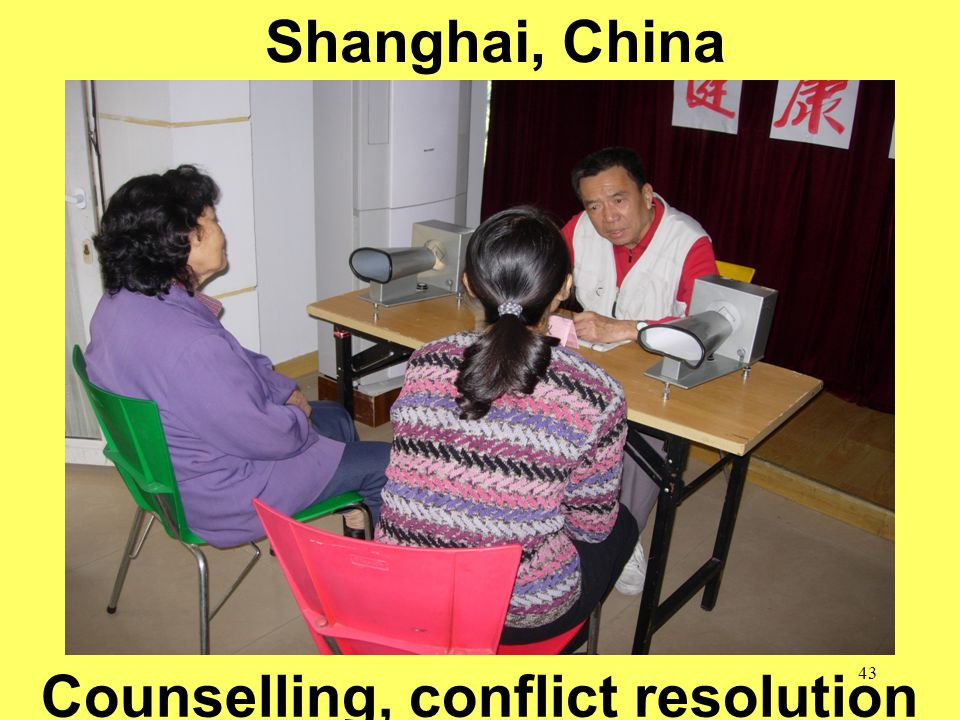 43 School of Public Health = Safe Communities Shanghai, China Counselling, conflict resolution