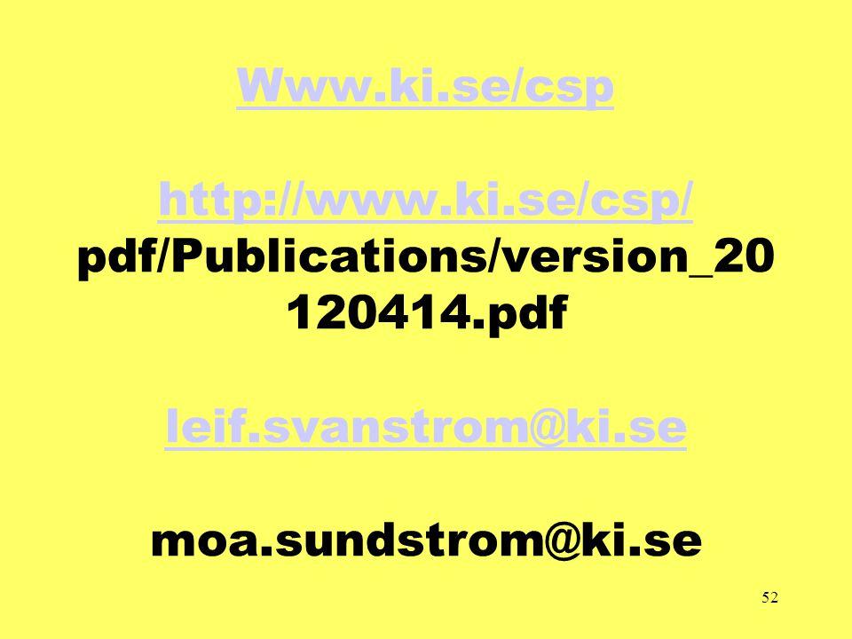 52 Www.ki.se/csp http://www.ki.se/csp/ Www.ki.se/csp http://www.ki.se/csp/ pdf/Publications/version_20 120414.pdf leif.svanstrom@ki.se moa.sundstrom@ki.se leif.svanstrom@ki.se