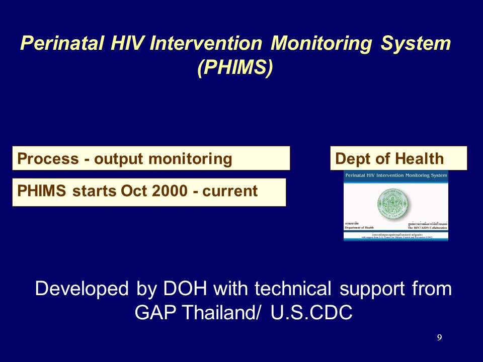 9 Perinatal HIV Intervention Monitoring System (PHIMS) Process - output monitoring PHIMS starts Oct 2000 - current Dept of Health Developed by DOH with technical support from GAP Thailand/ U.S.CDC